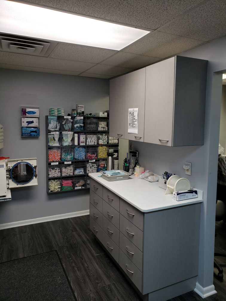 Brunswick Family Dental custom cabinets and supply area - W J Miller Builders